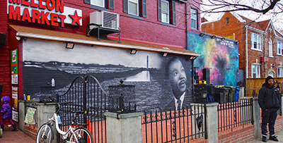 A mural featuring Dr. Martin Luther King Jr.